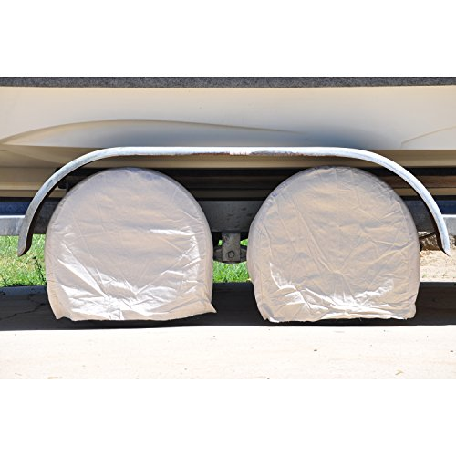 TCP Global Brand Set of 4 Canvas Wheel Tire Covers for RV Auto Truck Car Camper Trailer to 28