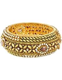 JFL - Traditional & Ethnic One Gram Gold Plated Austrian Diamond, Red & Green Meenakari Designer Openable Kada...