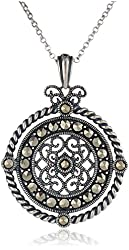 Sterling Silver Oxidized Marcasite Twisted Medallion Pendant Necklace, 18""