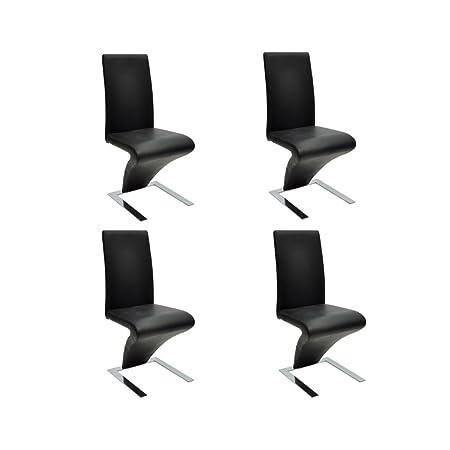 Set de 4 sillas de comedor color negro