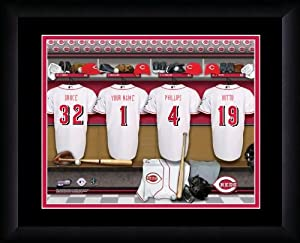 MLB Personalized Locker Room Print Black Frame Customized Cincinnati Reds by You