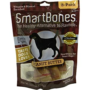 SmartBones Peanut Butter Dog Chew, Large, 3-Pack