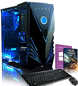 VIBOX Ultra 11SW - 3.9GHz Quad Core, Family, Desktop Gaming PC, Computer with Multimedia Keyboard & Mouse Set, Windows 8.1, WarThunder Game Bundle and Neon LED Internal Lighting Kit PLUS a Lifetime Warranty Included* (New 3.6Ghz (3.9GHz Turbo) AMD A8 5600K Fast 4 Core APU Processor, Powerful Radeon HD7560D Integrated Graphics Chip, 1TB HDD Hard Drive, 16GB 1600MHz RAM Memory, 85+ 500W PSU, DVD-RW)