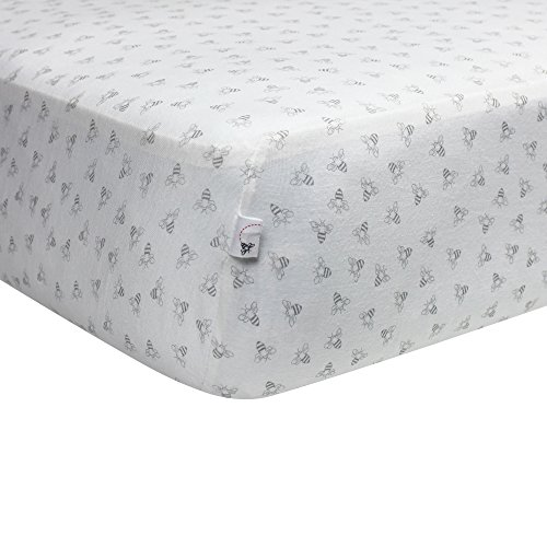 New Organic Honeybee Print Crib Sheet, Heather Grey