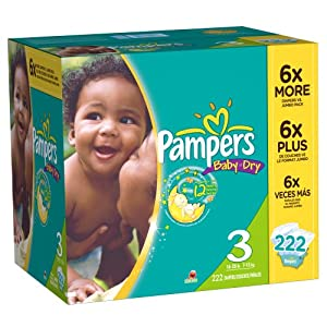 Pampers Baby Dry Diapers Size 3 Economy Pack Plus, 222 Count