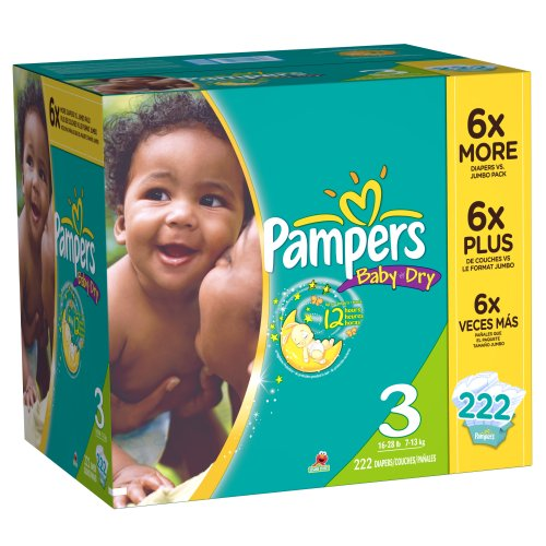 Pampers Baby Dry Diapers Economy Plus Pack Size 3 222 Count