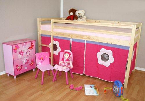 Lit enfant superposé mezzanine blanc en bois naturel avec un rideau rose -PEGANE-