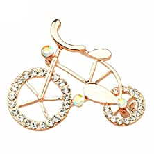 "buy Tagoo Women'S And Girl'S Gold Plated Bicycle Rhinestone Pins Brooch 1.18""X1.57"""