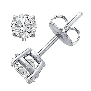 Sterling Silver .925 Cubic Zirconia Stud Earrings Set in Basket Settings, 1.00 Carat Total Total Weight, Half a Carat Each White Cubic Zirconia Stone