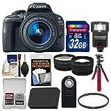 Canon EOS Rebel SL1 Digital SLR Camera & EF-S 18-55mm IS STM Lens with 32GB Card + Flash + Battery + Tripod + Filter + Tele/Wide Lens Kit
