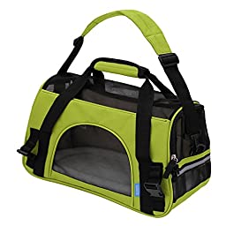 OxGord Airline Approved Pet Carriers w/ Fleece Bed For Dog & Cat - Medium, Soft Sided Kennel - 2016 Newly Designed Model, Spinach Green