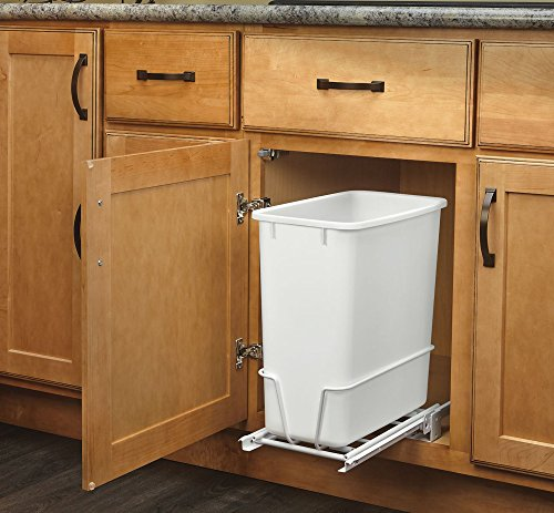 Rev-A-Shelf - RV-814PB - Single 20 Qt. Pull-Out White Waste Container with Adjustable Frame (Under Cabinet Garbage Can compare prices)