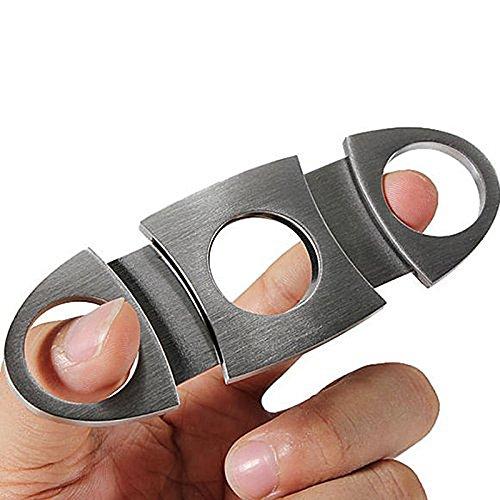 SODIAL(R) シルバーのステンレス製ポケットシガーカッター ナイフ はさみ
