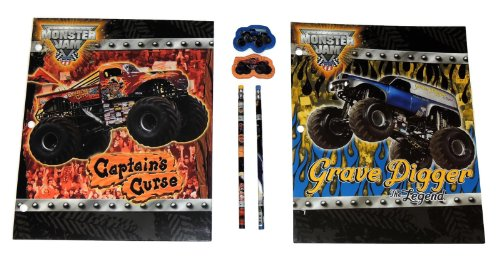Hot Wheels Monster Jam Grave Digger and Captain's Curse 6 Piece Pocket Folder Set with Matching Pencils and Erasers - 1