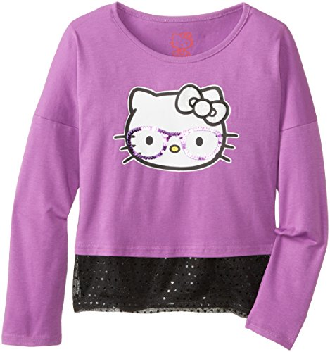 Hello Kitty Big Girls' Smart Kitty Twofer Top, Heather Purple, 8 front-899834