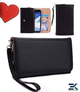 Women's PU Leather Wallet Universal Phone Clutch Wrist-let fits Samsung Galaxy Note 3 Case - BLACK. Bonus Ekatomi Screen Cleaner