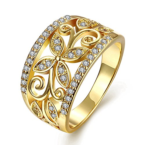 Zarbrina Women's Fashion Rose Gold Plated Cubic Zirconia Wedding Band Flower Engagement Promise Ring (Cz Flower Ring compare prices)