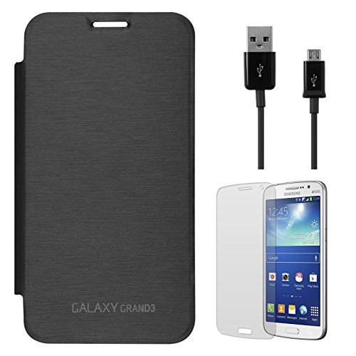 DMG Smooth PU Leather Back Replace Flip Cover Case For Samsung Galaxy Grand Max SM-G7200 (Black) + Data Cable + Matte Screen