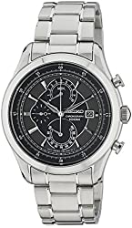 Seiko Quartz Chronograph Black Dial Stainless Steel Mens Watch SPC167