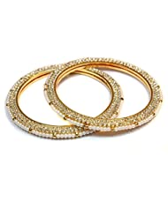 Scrunchh Faux Pearl And Stone Slim Fancy Bangles For Women