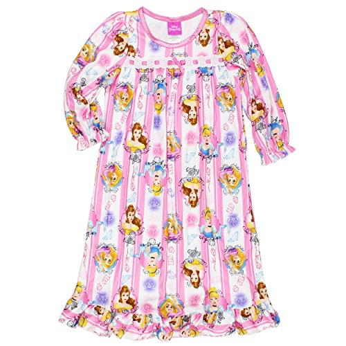 Disney Princess Girls Flannel Granny Gown Nightgown Pajamas (6, Portrait Pink/White) (Tangled Rapunzel Dress)