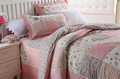 100% Cotton Pink 3-Piece Patchwork Bedspread Queen Size Quilt Set