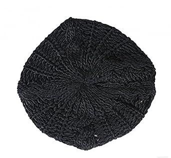 girl lady pop women Serratula of warm bud knitted beret wool cap hat black