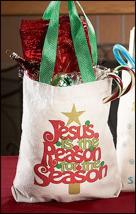 Jesus Reason for Season Christmas Tree Design Canvas Bible Book 8 Inch Canvas Tote Bag