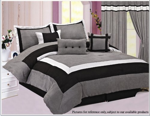 High Quality Micro Suede Comforter Set Bedding-in-a-bag, Grey - Queen