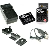 Ex-Pro Ultra White Series Replacement Battery and Digital Camera Travel Charger for Panasonic Lumix