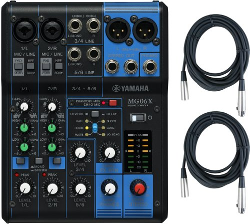 Yamaha MG06X 6 Input Stereo Mixer (with SPX Effects) w/ (2) XLR Mic Cables (Mixer Yamaha compare prices)