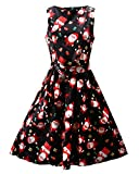 OUGES Women's Sleeveless Fit and Flare Party Cocktail Dress(Black Santa,XL)