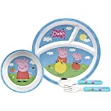 Zak Designs PEPB-2880 4 Piece Break-resistant And BPA Free Plastic Toddlerific Peppa Pig Mealtime Set Includes Sectioned Plate, Bowl And Flatware Utensils, Multicolor