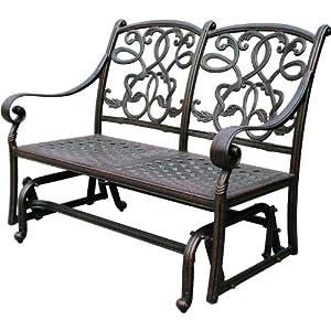 Darlee Santa Monica Cast Aluminum Deep Seating Patio Loveseat Glider - Antique Bronze by Darlee