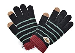 Damara Women's Durable Touch Screen Stripe Knit Wool Gloves (Black)