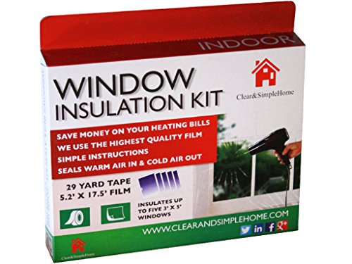 Window Insulation Kit By Clear & Simple Home Uses Our 5 Window Insulation Film Using 5.2ft x 17.5ft Heat Shrink Cling Film And 29 Yard Tape A Great Winter Window Insulator (Window Winter Insulation Kit compare prices)