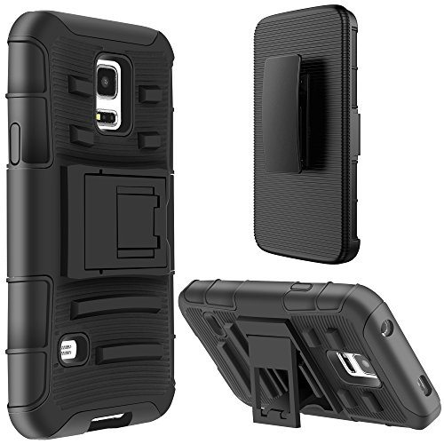 S5 MINI Case, E LV Samsung Galaxy S5 MINI Holster Case Cover Hybrid Full-body Protective with Shock-Absorption / Impact Resistant Bumper Kickstand and Belt Swivel Clip for Samsung Galaxy S5 MINI SM-G801 - BLACK (Galaxy S5 Mini Case compare prices)