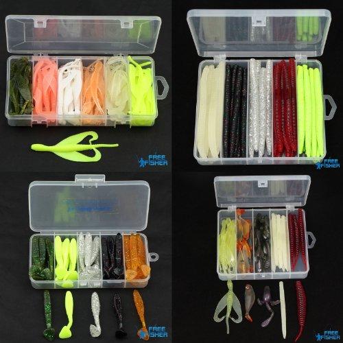Fishing Kit 82pcs Soft Lure Bait Worm Plastic Rubber Tube Grub Bass