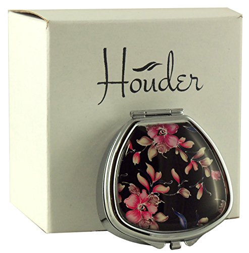 Designer Pill Box by Houder - Decorative Pill Case with Gift Box - Carry Your Meds in Style (Orchids)