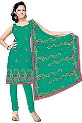 Vatsal Silk Mills Unstitched Dress Material for Women Dark Green
