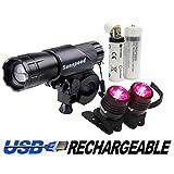 サンスピード(Sunspeed)USB充電式LEDバイクライトセット-LEDヘッドライトとテールライト、ツールなしで簡単にインストールでき、ロードバイク、競技用バイクとサイクリングに適用-18650バッテリーも提供