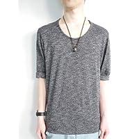 (モノマート) MONO-MART 8color 杢調Uネック 7分袖 サマーニットソー カットソー Tシャツ メンズ