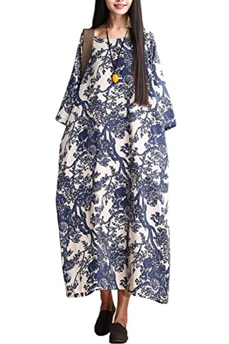 Mordenmiss Women's Printing Dress Travel Line Clothing Medium Style 1-Blue
