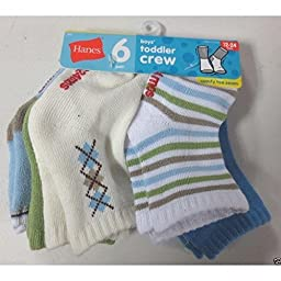 Hanes Boys\' Infant/Toddler Crew EZ Sort Socks 6-Pk, Assorted Colors, 12-24 Months