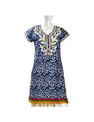 Camie Women's Cotton Cambrik Indigo Blue Straight Kurti