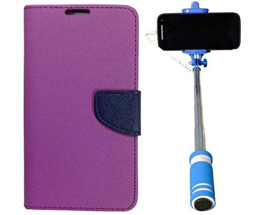 Uni Mobile Care Flip Cover For XiaomiRedmi 2 Prime - Purple + Mini Pocket Selfie Stick With Aux Cable For Mobile...