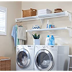 EZ Shelf Expandable Laundry Room Shelving Kit, Wall Mount, White