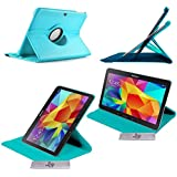 Etui Luxe Turquoise Rotatif fonction Reveil/Sommeil Samsung Galaxy Tab 4 10.1 T530\T531\T535 + STYLET et FILM OFFERTS !!
