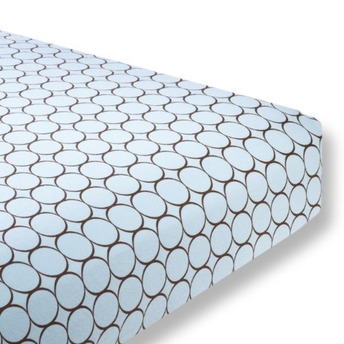 SwaddleDesigns Cotton Flannel Fitted Crib Sheet, Brown Mod Circles, Pastel Blue