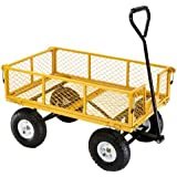Farm & Ranch FR1245-2 Steel Utility Cart with Removable Folding Sides and 10-Inch Pneumatic Tires, 900-Pound Capacity, 34-Inches by 21.5-Inches, Yellow Finish